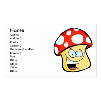 silly smiling mushroom toadstool cartoon character business card template