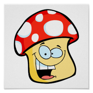 silly smiling mushroom toadstool cartoon character poster
