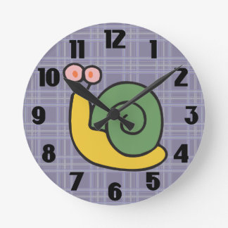 Silly Snail on Purple Plaid Round Clock