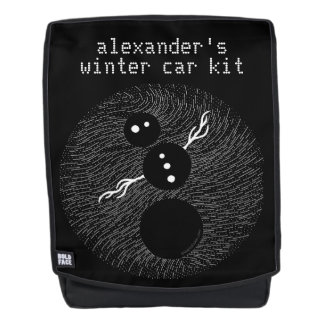 Silly Snowman Black And White Winter Car Kit Backpack