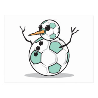 silly soccer ball snowman post cards