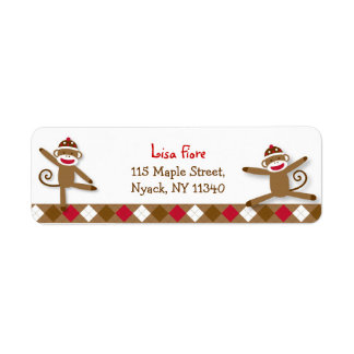 Silly Sock Monkey Baby Shower Address Labels