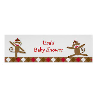 Silly Sock Monkey Baby Shower Banner Sign
