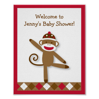 Silly Sock Monkey Baby Shower Sign Print