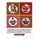 Silly SOCK MONKEY Birthday Cupcake Topper SMR Postcard