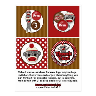 Silly SOCK MONKEY Birthday Cupcake Topper SMR Postcard