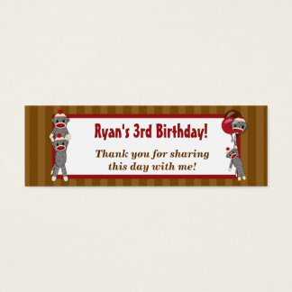 Silly SOCK MONKEY Birthday Favor Gift Tags SMR