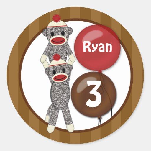 Silly SOCK MONKEY Birthday Round sticker SMR #1