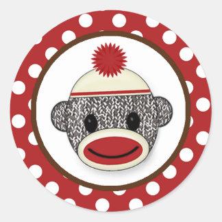 Silly SOCK MONKEY Birthday Round sticker SMR 3
