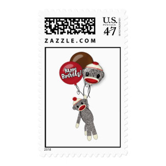 Silly SOCK MONKEY Birthday SMR Postage
