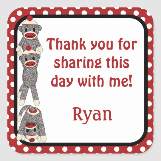 Silly SOCK MONKEY Birthday square sticker SMR