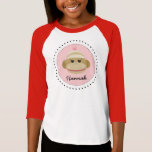 Silly Sock Monkey Girl Personalized Shirt