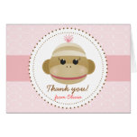 Silly Sock Monkey Girl Personalized Thank You Card