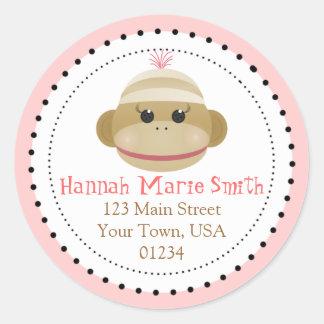 Silly Sock Monkey Girl Return Address Stickers
