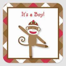 Silly Sock Monkey Stickers Envelope Seals