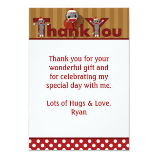 "Silly SOCK MONKEY Thank You 3.5""x5"" (FLAT style) Card"