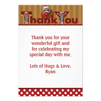Silly SOCK MONKEY Thank You 3 5 x5 FLAT style Personalized Invites