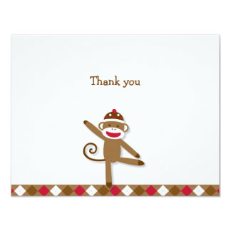 Silly Sock Monkey Thank You Note Cards