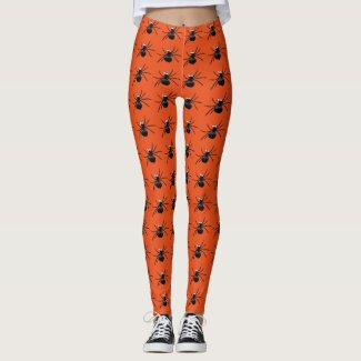 Silly Spiders Black and Orange Leggings