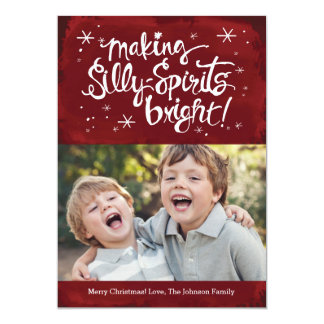 Silly Spirits Bright Holiday Photo card | Berry