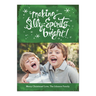 Silly Spirits Bright Holiday Photo card | Pine