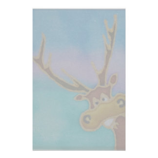 Silly Stag on a colourful background Stationery