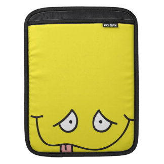 silly sticking tongue smiley face on yellow sleeves for iPads