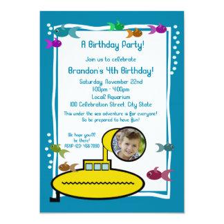 Silly Sub Aquarium Birthday 5x7 Paper Invitation Card