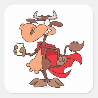 silly super cow drinking milk cartoon stickers