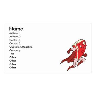 silly superhero caped super steak business card