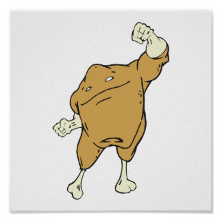 silly superhero super chicken food character poster