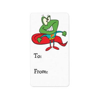 silly superhero super hero frog label