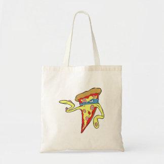 silly superhero villian pepperoni pizza character canvas bags