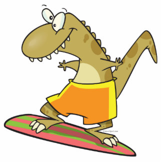 silly surfer surfing dinosaur cartoon photo cut outs