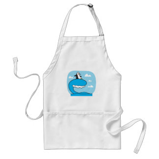 silly surfing penguin adult apron