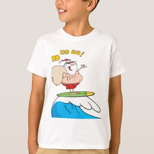 silly surfing santa cartoon T-Shirt