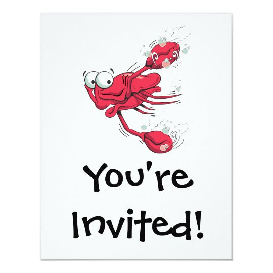 silly swimming scared crab cartoon character card