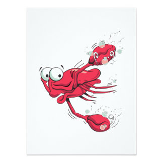 "silly swimming scared crab cartoon character 6.5"" x 8.75"" invitation card"