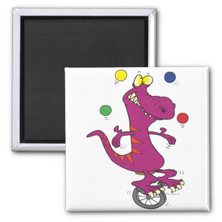 silly t-rex dino juggling on unicycle cartoon magnet