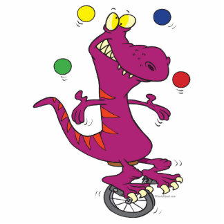 silly t-rex dino juggling on unicycle cartoon cut out