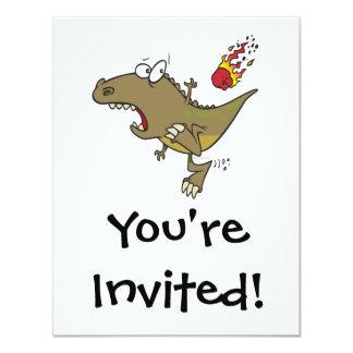 silly t-rex dinosaur dodging meteor cartoon 4.25x5.5 paper invitation card