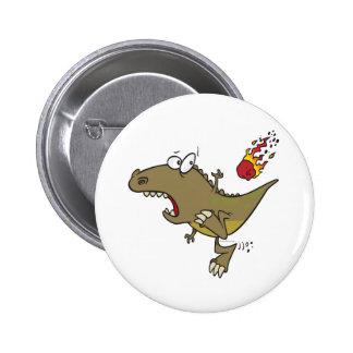 silly t-rex dinosaur dodging meteor cartoon pins