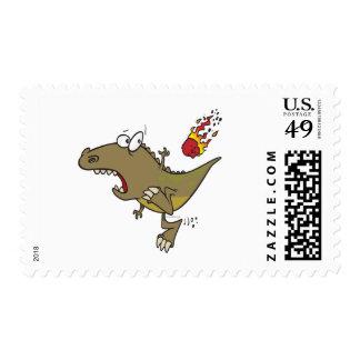 silly t-rex dinosaur dodging meteor cartoon postage stamp
