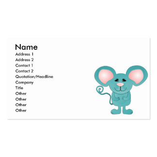 silly teal blue mousey mouse business card