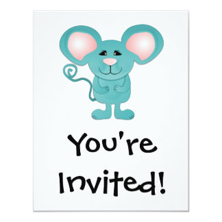 silly teal blue mousey mouse 4.25x5.5 paper invitation card