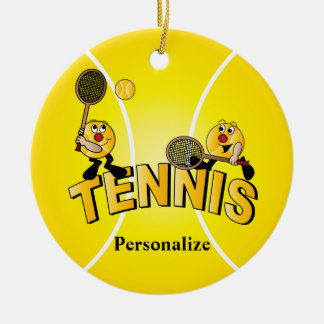Silly Tennis Ball Players | Personalize Ceramic Ornament