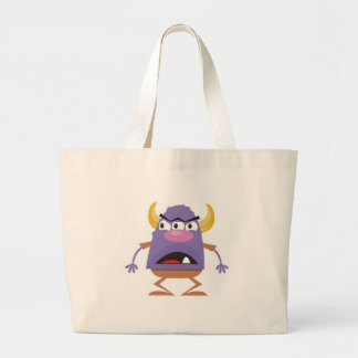 silly three-eyed ogre monster large tote bag