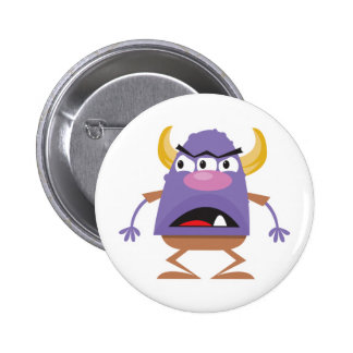 silly three-eyed ogre monster pinback button