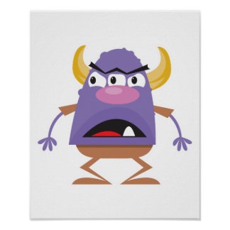 silly three-eyed ogre monster print