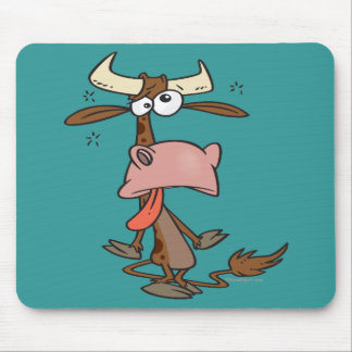 silly tired brown cow cartoon mouse pads